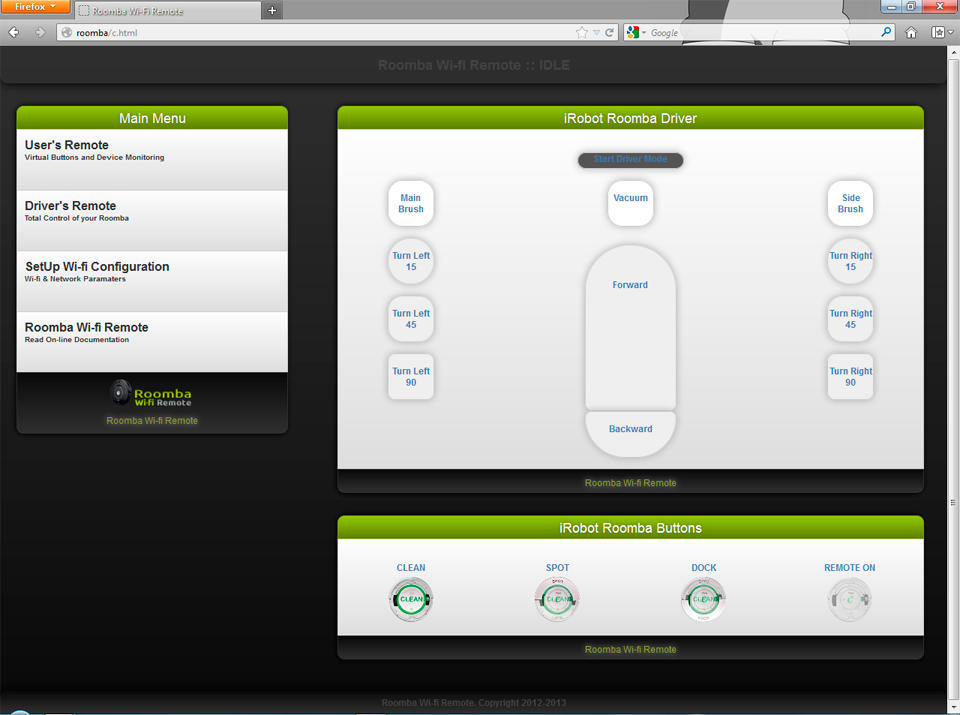 Roomba Wifi Web Interface on Firefox Driver Page