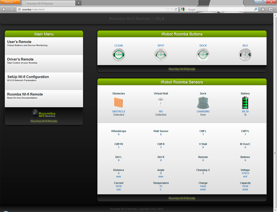 Roomba Wifi Web Interface on Firefox Welcome Page