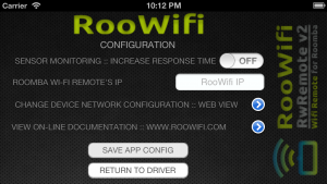 iPhone Wi-Fi Remote for Roomba : Configuration Screen