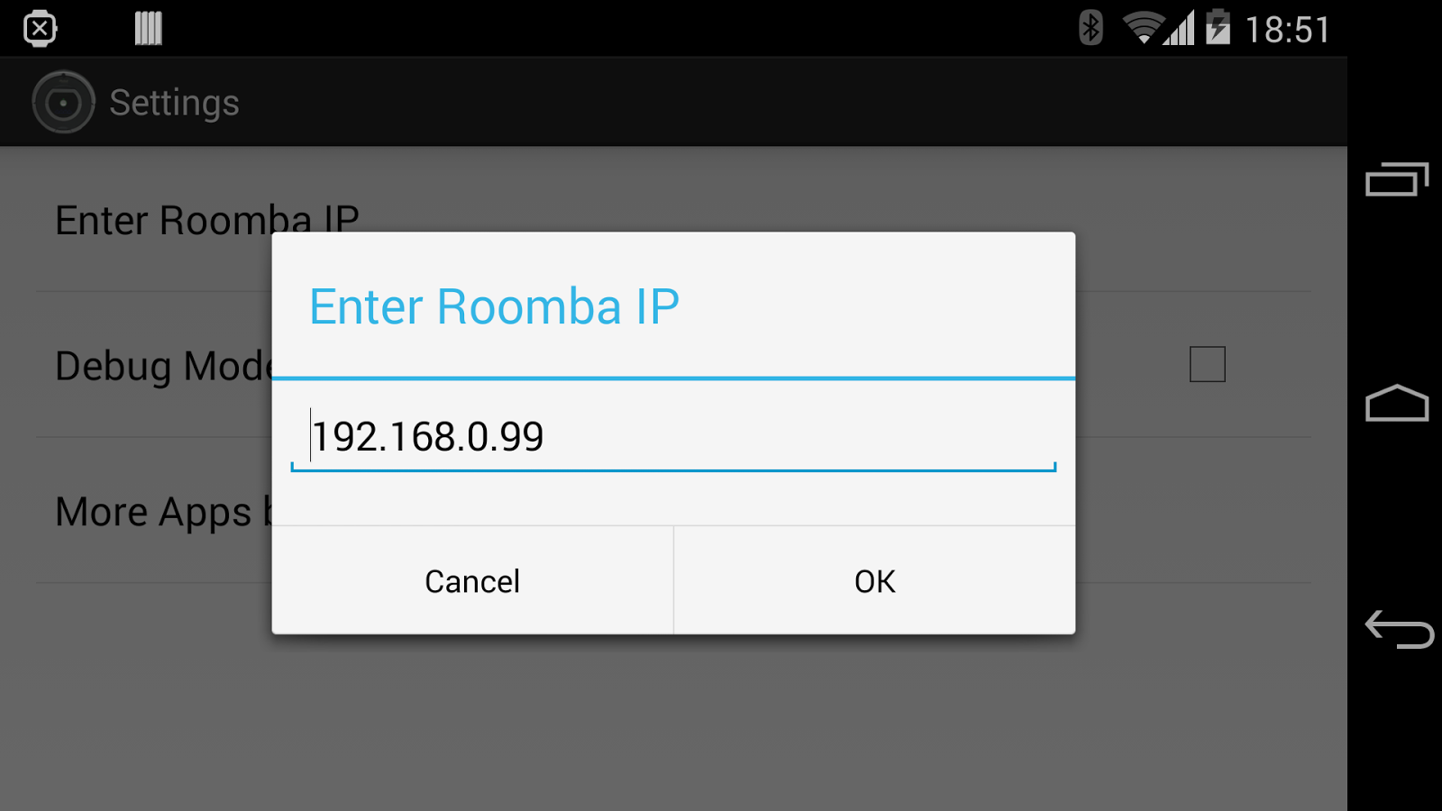 RooWifi: Wifi Remote for Roomba Android App - Configuration Screen