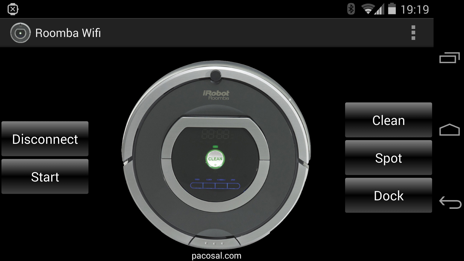 RooWifi: Wifi Remote for Roomba Android App - Main Screen